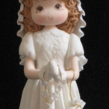 Kneeling Praying Girl, First Communion Girl Cake Topper, White Flower Rosary Baptism and Communion Girl, Communion Boy Cake Topper, Holly Communion Cake Decoration