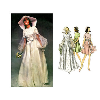 1970s WEDDING DRESS PATTERN Mod Boho Bridal Gown w/ Couturier Sleeves, Bridesmaid Dress Vogue 2254 Bust 32.5 Vintage Sewing Patterns UNCuT