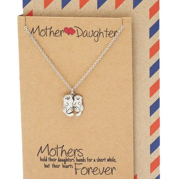Adriana Mother and Daughter Otter Necklace with Inspirational Quote, Gifts for Mom