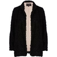 Black boucle open front jacket - jackets - coats / jackets - women