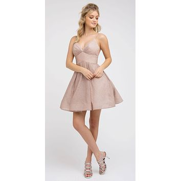 V-Neck Blush Homecoming Short Dress with Pockets