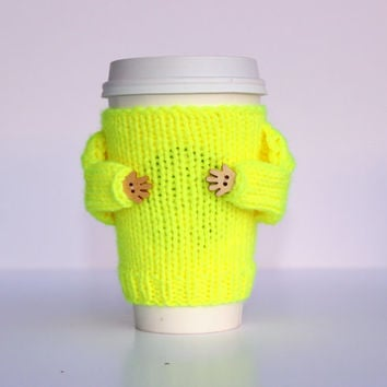 Coffee cozy. Travel mug sleeve. Tea warmer. Coffee warmer. Neon yellow. Valentine's gift. Mug sweater. Starbucks cup sleeve. Mug hug cozy