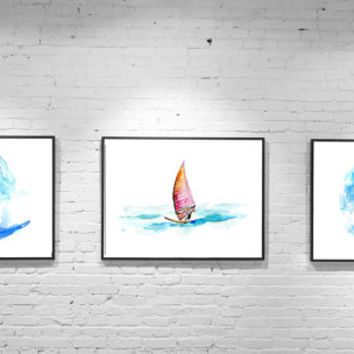 Surf watercolor painting - Giclee print Set of 2 Surf art surfboard - Surfing Sea Wave Sports illustration Zen drawing Surf  Aquarelle