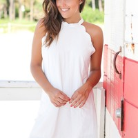Ivory Scalloped Short Dress
