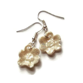 Flower Dangle Earrings, Unique Pearl Earrings, Sterling Silver Earring Hooks, Porcelain Jewellery