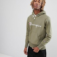 Champion Hoodie With Large Logo In Green at asos.com