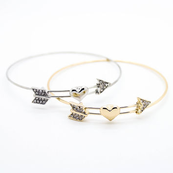Arrow Heart bangle bracelet