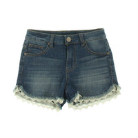 Aqua Womens Lace Trim Vagabond Wash Denim Shorts