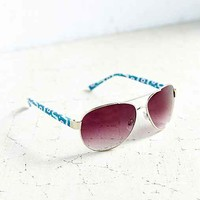 Hot Pursuit Aviator Sunglasses- Blue Multi One