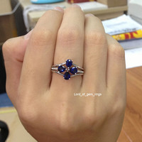 Pear Sapphire Engagement Ring Trio Sets Pave Diamond Wedding 14K White Gold 4x5mm  Flower Floral