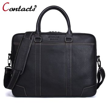 CONTACT'S Men Bag Genuine Leather Computer Tote Laptop Bag Handbag Briefcase Office Bags Male Designer Men Shoulder Bag New