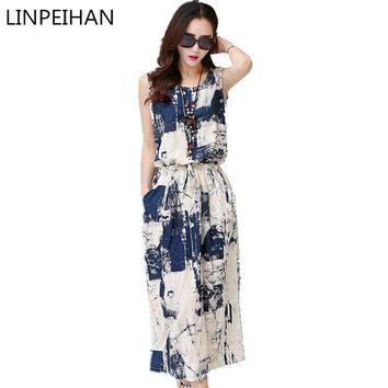 Vintage floral dress female 2016 Women Summer Dress casual Cotton Linen Sleeveless elegant blue black Dress vestido