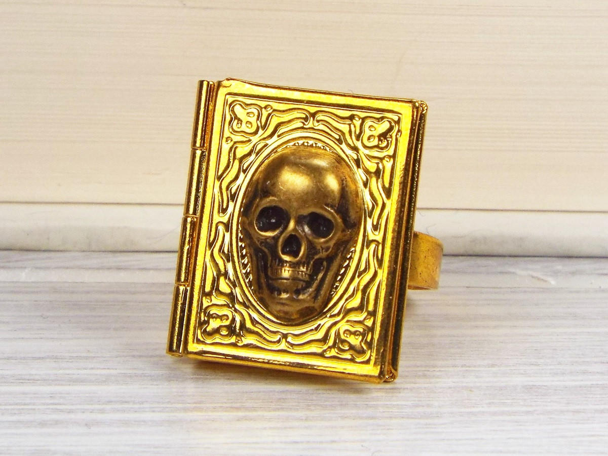 Skull Gothic Book Locket Poison Ring From Fripparie Jewelry