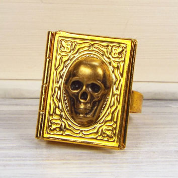 Skull Gothic Book Locket Poison Ring