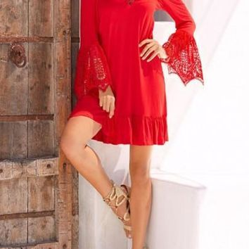 Women Red Patchwork Lace Hollow-out Off-shoulder Flare Sleeve Bohemian Mini Dress