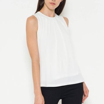 Vegan Leather Trim Stretch Knit Top