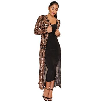 Trendy 2018 Trendy Sheer Mesh Sequins Cardigans Full Sleeve Open Stitch Slim Women Long Jackets Night Club Party Outwear Coats WJM256 AT_94_13