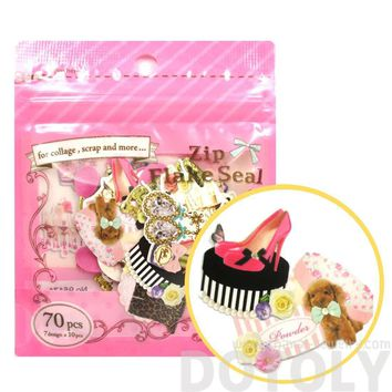 Fashion Themed Shoes Heels and Accessories Shaped Sticker Flake Seal Pack From Japan | 70 Pieces