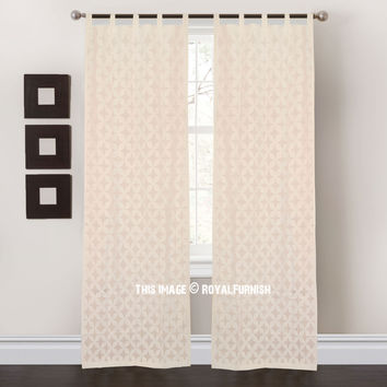 White Floral Cutwork Sheer Cotton Curtains Set of 2 on RoyalFurnish.com