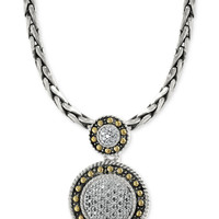 EFFY Diamond Circle Pendant Necklace (1/8 ct. t.w.) in 18k Gold and Sterling Silver