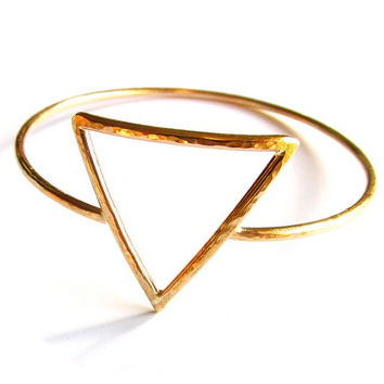 Upside Down Triangle Bangle, Gold Hammered Bracelet, Feminine Symbol, Inverted Triangle