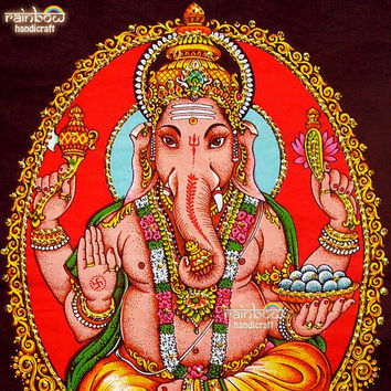 Indian hindu elephant god ganesh ganesha sequin coton fabric religious painting wall hanging tapestry ethnic home decor art India