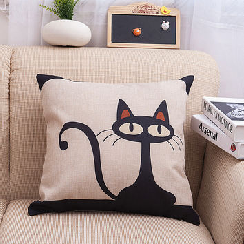 Simple Design Strong Character Cartoons Cats Animal Cotton Linen Soft Cushion [6283493830]