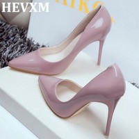 HEVXM 2017 Women Shoes Pointed Toe Pumps Patent Leather Dress Shoes High Heels Boat Shoes Wedding Shoes Zapatos Mujer 10cm/7cm