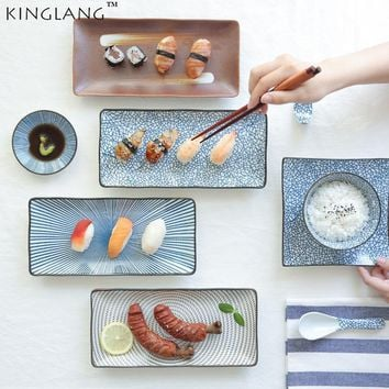Japanese HENGFENG Blue and White Ceramic LONG Sushi Plate Porcelain Fish Dish for BBQ Restaurant