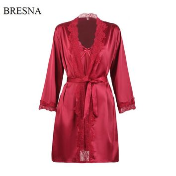 BRESNA Long Sleeve Lace Stain Robes and Gowns Sets Women Faux Silk Cardigan Robe Backless Night Dress Sleepwear Home Negligees