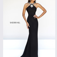 Stoned Halter Top Sherri Hill Formal Prom Dress 21301