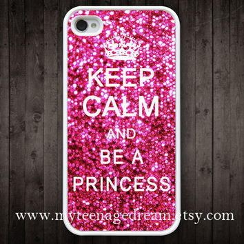 iphone 4 case, iPhone 4s Case, Keep Calm and be a princess sparkle Painting white hard case for iphone 4, iphone 4S