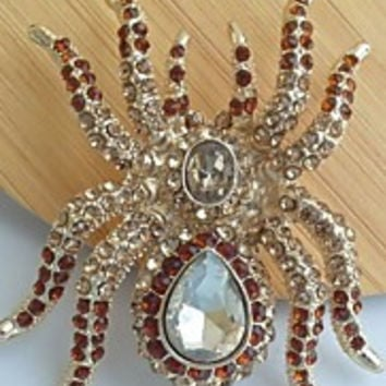 Unique 2.36 Inch Gold-tone Topaz Rhinestone Crystal Spider Brooch Art Deco Halloween Jewelry