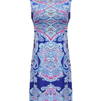 Streetstyle  Casual Crew Neck Plus Size Bodycon Dress In Paisley Tribal Printed