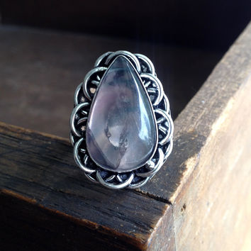 Fluorite Teardrop Ring - Sterling Silver over Copper - Size 8