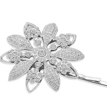 Bridal Hair Pins Silver Plated Crystal Flower
