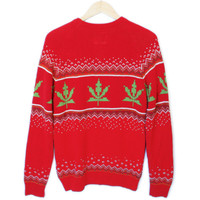 Urban Outfitters 8-Bit Weed Sweater Tacky Ugly Christmas Sweater