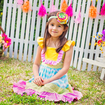 Girls spring Dress, girl easter dress, girl modern dress, toddler colorful dress, bright girl dress for toddlers to tween