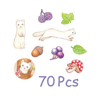 cute animal sticker forest animal mushroom flake sticker blueberry chestnut lovely animal deco label fairy tale animal sticker set gift