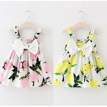 Summer Infant Baby Girls Floral Fruit Bow Dress Lemon Print Bowknot Sleeveless Sundress Clothes Baby Girl Dress 0-3Y