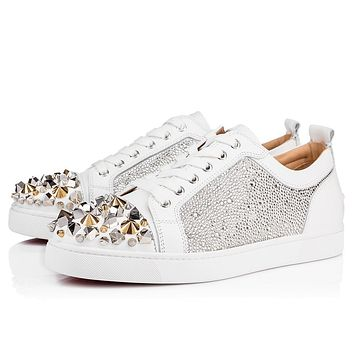 Christian Louboutin Cl 18w Louis Junior Mix Strass Strass Version Snow Sneakers