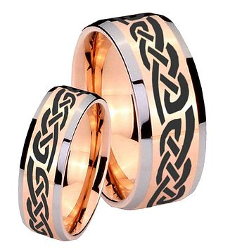 His Hers Celtic Knot Infinity Love Beveled Edges Rose Gold Tungsten Rings for Men Set