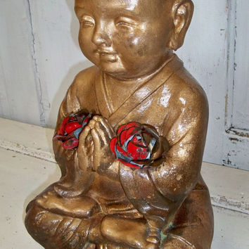 Large hand painted Buddha statue sculpture gold rusted piece adorned with red metal roses home decor Anita Spero