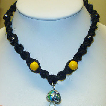 Black and Yellow  Spiral Hemp Necklace with Glass Fimo Mushroom Pendant