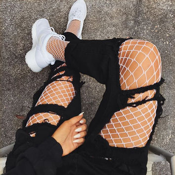 KYLIE WHITE FISHNETS