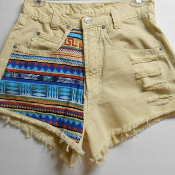 Vintage BONGO High Waist   Denim Shorts Tribal Print  Waist 27   inches