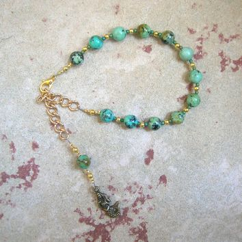 Amphitrite Prayer Bead Bracelet in African Turquoise: Greek Goddess, Queen of the Seas