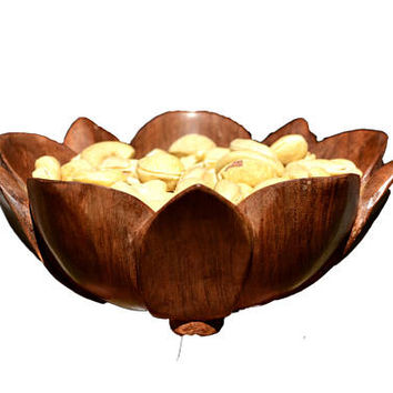 Handmade Wooden Salad Bowl - Soup Bowl - Walnut Wood Bowl - Hand carved Bowl - Lotus Bowl - Pasta Bowl - Dried Fruit Bowl Housewarming Gifts