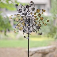 Gold And Silver Dots Metal Wind Spinner | Wind Spinners