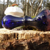 Cobalt Blue Glass Pipe Pink Honecomb On Tip ~ Big Toke